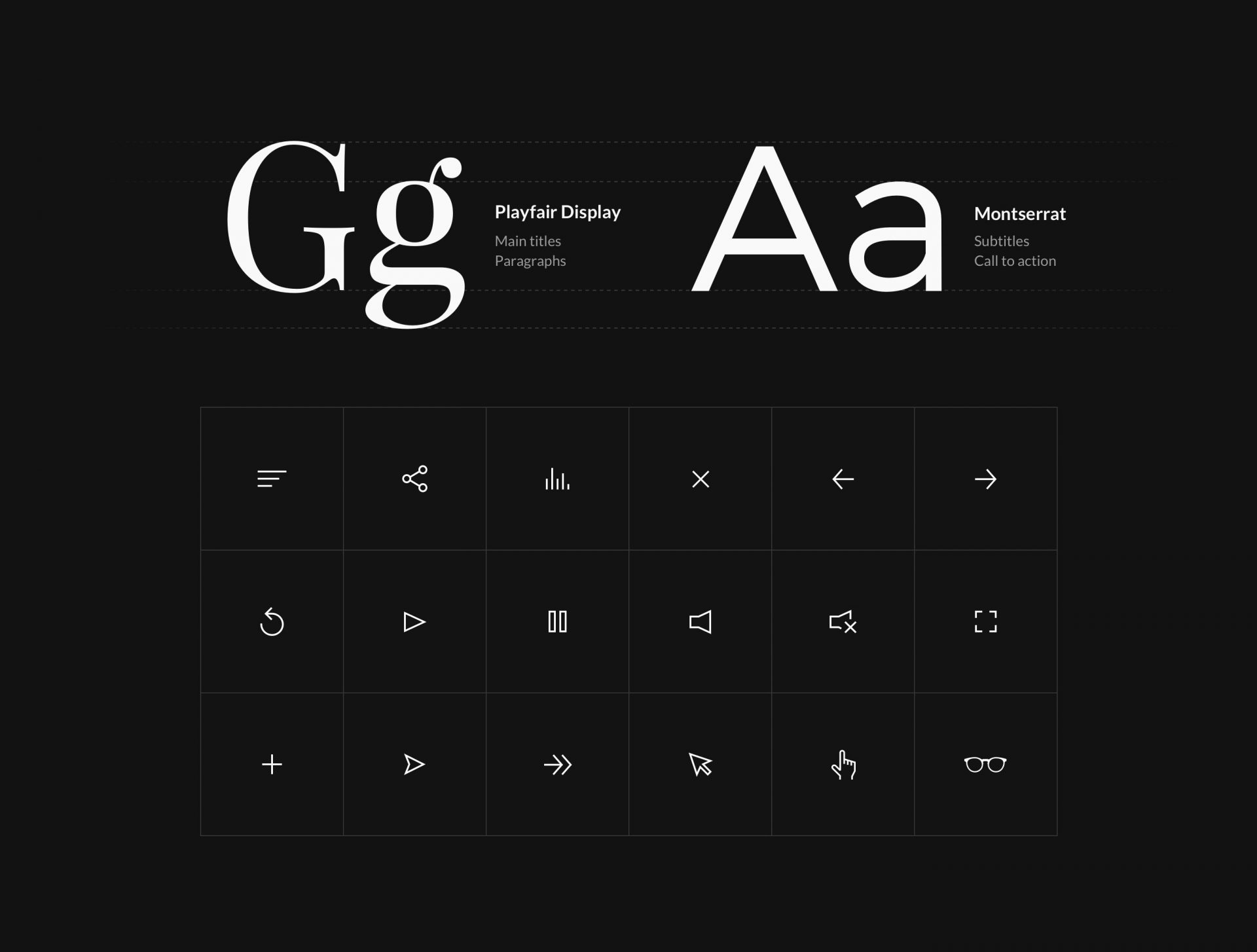 Styleguide presenting typography and iconography